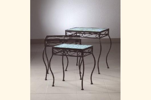 mosaik tisch 3er set mit geschwungenen beinen mosaik shop. Black Bedroom Furniture Sets. Home Design Ideas