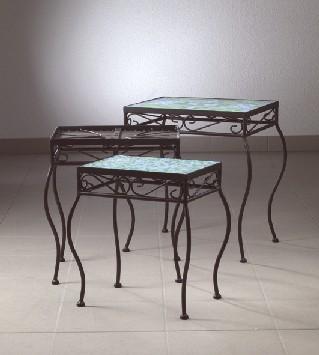 mosaik tisch 3er set mit geschwungenen beinen ebay. Black Bedroom Furniture Sets. Home Design Ideas
