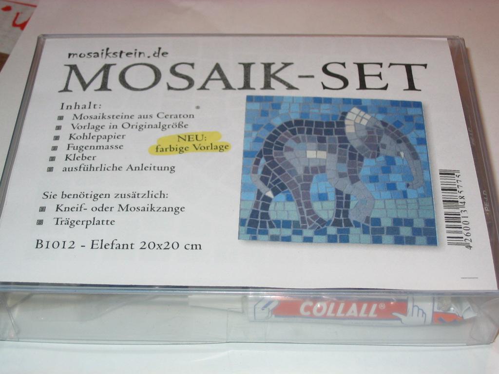 mosaik bausatz elefant mit keramik mosaiksteine b1012 mosaik shop komplett starter set s. Black Bedroom Furniture Sets. Home Design Ideas