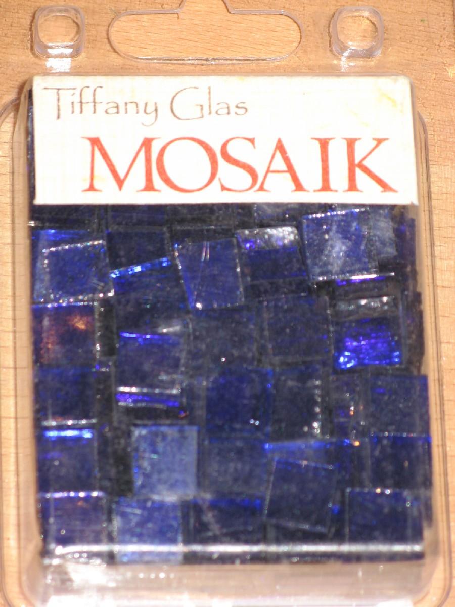 TIFFANY Glas Mosaik 1x1cm TRANSPARENT ULTRAMARIN blau T64 Mosaik ...