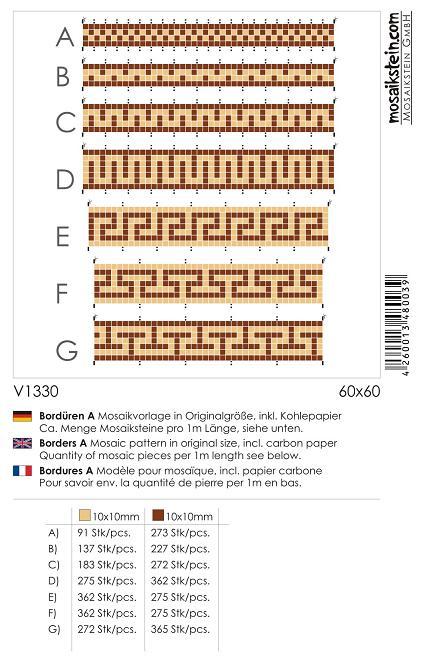 Mosaik Vorlage BORDÜREN A V1330   eBay