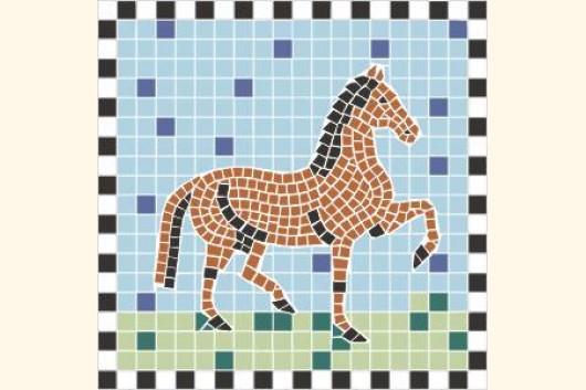 mosaik vorlage pferd ii 20x20cm incl kohlepapier v1313. Black Bedroom Furniture Sets. Home Design Ideas